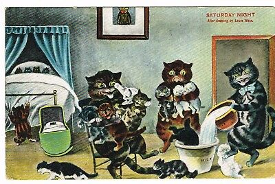 ANTIQUE LOUIS WAIN 'SATURDAY NIGHT' POSTCARD 1910 postmarked + stamp