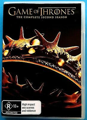 GAME OF THRONES-The Complete SECOND Season (2) [5 Disc DVD Set] PAL Region 4 VGC