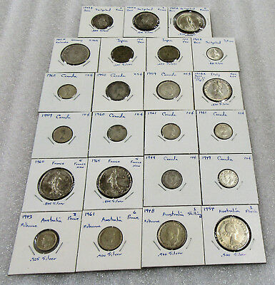 Collector Lot of 23 Foreign Silver Coins of Different Types in 2 x 2 Flips