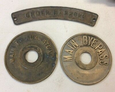 3 Vintage Machinery Cast Name Plate Sign Main To Aux Steam, Main Bypass, Order #