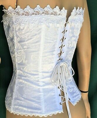 74f82678e8 Hollywood Dream Lace-Up Size 34 Corset by Fredericks of Hollywood White  Jacquard