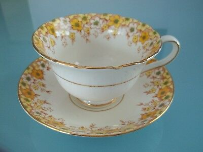 Vtg Rosina Fine Bone China YELLOW/GREEN/GOLD FLORAL Cup Saucer