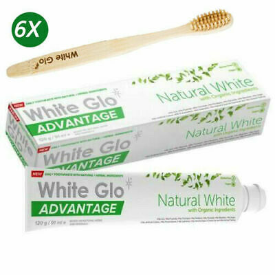 6x White Glo Pure Natural Whitening Toothpaste 120g + Bamboo Toothbrush AU