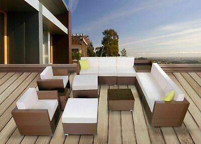 Mcombo Large Brown Wicker Rattan Sofa Chair Outdoor Furniture Patio Sectional