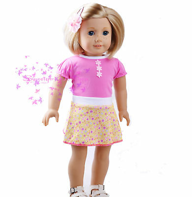 """New Handmade American Girl Pink&Yellow Cute Skirt Dress fits 18""""Doll Clothes"""