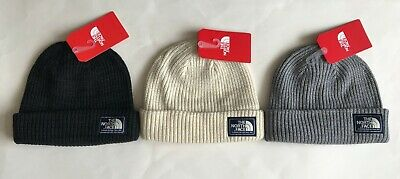 5e6cde9e756 NWT Mens The North Face Salty Dog Beanie Cuffed Hat Ski Cap Black White Gray  OS