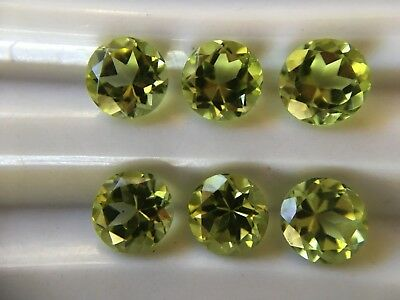 6x Peridot 4.5 mm ROUND- Bright Medium Colour- Loose Natural New