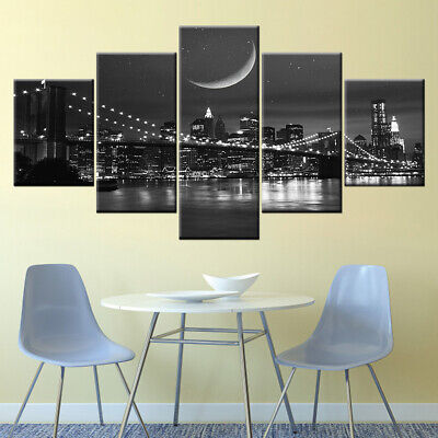 Framed New York City Cityscape Nightscape Canvas Prints Painting Wall Art 5PCS