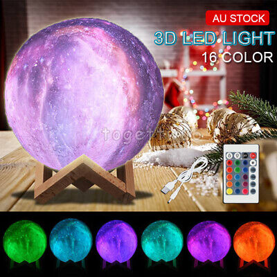 3D Lunar Moon Lamp USB Moonlight Galaxy Sky Starry LED Night Light Touch Remote