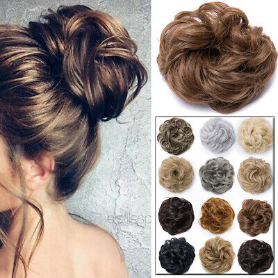 Curly Messy Bun Hairpiece Scrunchie Wrap Ponytail Hair Extensions Human GW87