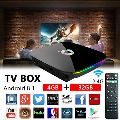 Q-Box Plus Quad Core 4GB+32GB Android 8.1 TV 4K HD Smart Media Player WI-FI HDMI