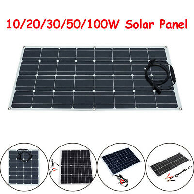 UK Flexible Solar Panel Battery Charger For RV Boat Camping 10/20/30/50/100W 12V