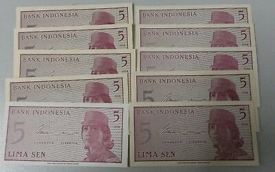Bank of Indonesia One Sen: 5 Sen Uncirculated Banknote x 10 Notes.