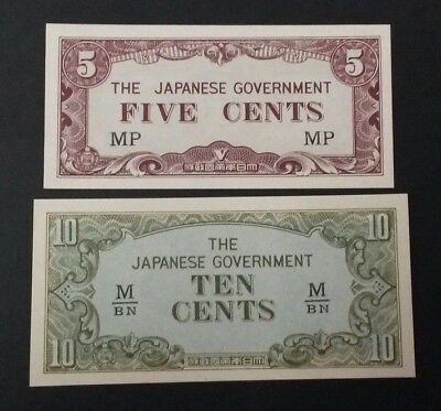 The Japanese Government Five & Ten Cents WWII Banknotes Invasion Money - UNC