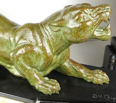 1920/1930 Dh. Chiparus Rare Pendule Garniture Statue Sculpture Art Deco Panthere