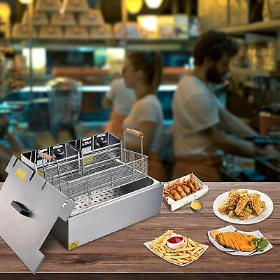 Commercial Electric Fryer 5000W 20L Countertop Home Restaurant Cooking Equipment