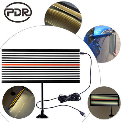 PDR Paintless Dent Repair Tools LED Light Both Sides Line Board Hail Doctor Set