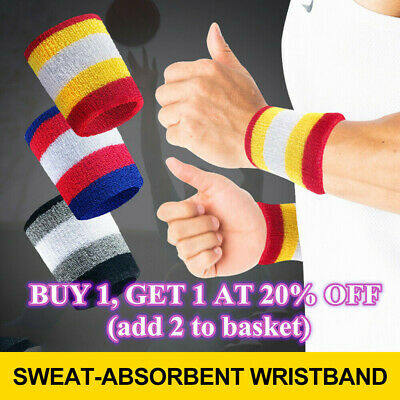2 x Sports Wrist Sweatbands Unisex Wristband Band Tennis Squash Badminton Gym N