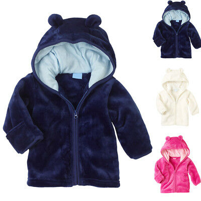 Newborn Baby Kids Boys Girls Coral Fleece Hooded Coat Warm Jacket Outerwear Coat