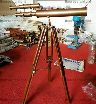 Telescope Brass Antique U.S Navy Marine Nautical Vintage With Wooden Tripod Gift