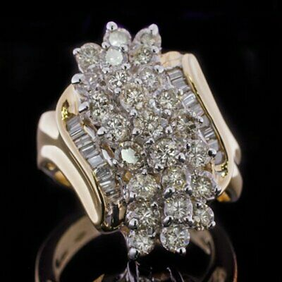 Retro Estate 1.5Ct Diamond Cluster Statement Cocktail Ring 14K Yellow Gold Over