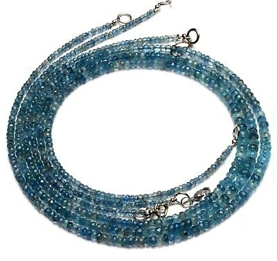 """Natural Gem Moss Aquamarine 3 to 5.5MM Size Faceted Rondelle Beads Necklace 19"""""""