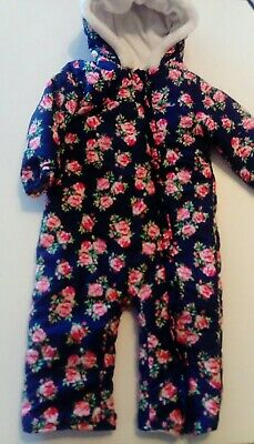 Floral Winter Snow Suit Coat All in One Navy Pink Girls TU Age 18-24 Months