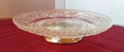 Vintage Clear Cut Crystal Glass Footed Candy Dish w/ Silver Base