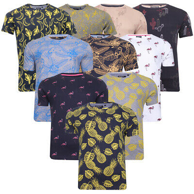 Mens Brave Soul All Over Hawaiian Photo Print T-Shirts Graphic Or Plain Cotton T