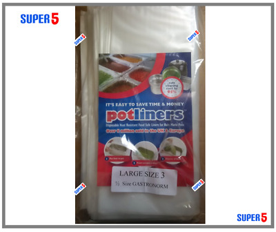 EASY BAGS POT LINERS -Bain Marie Pots - SIZE 3 (1/2 Gastronorm) - 100 BAGS PACK
