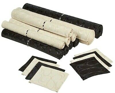 New 18 piece Table Mat Set Runner Placemat Synthetic Leather Black Ivory