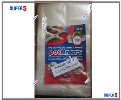 EASY BAGS POT LINERS -Bain Marie Pots- SIZE 4 ROUND (4 1/2 Litre)- 100 BAGS PACK