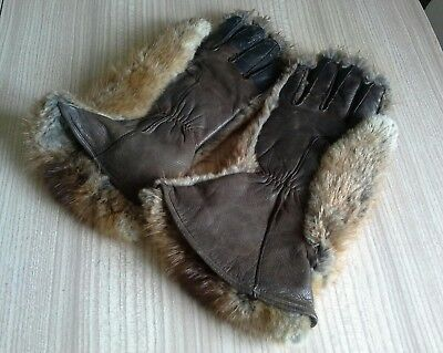 Rare ladies old marshgrade real fur and leather gloves marshall  & snelgrove