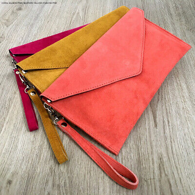 Coral Wedding Clutch Bag Evening Bag Oversize Envelope Suede Prom Made in Italy
