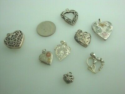 sterling silver heart lockets pendants and more 8 total