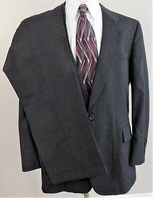 JOS A BANK~Gordon~46L~2 Button~Vented~Pleated~Cuffed~Dark Gray~Wool~2 pc Suit