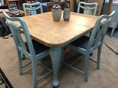 Vintage farmhouse oak dining table 4 four ornate chairs Annie Sloan Duck Egg
