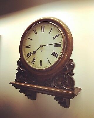 A Victorian Oak Railway Gallery Clock With A 5 Pillar Fusee Movement.