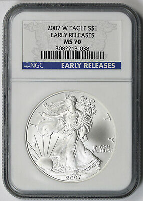 2007-W Burnished American Silver Eagle Dollar $1 MS 70 NGC Early Releases