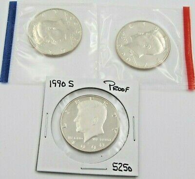 1990 P D & S Kennedy Half Dollar Set - PD Mint Cello / S Proof - 3 coins (5250)