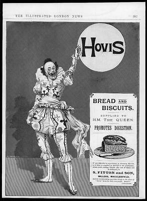 1895 Antique ADVERTISING Print - HOVIS Bread Biscuits Millers Crown  (38)