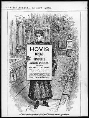 1895 Antique ADVERTISING Print - HOVIS Bread Biscuits Sandwich Girl  (37)