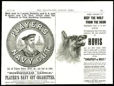 1896  Antique Print - ADVERTISING Hovis Bread Biscuits Players Navy Cut (17)