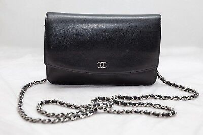 5ebe6eb34b20 VERIFIED Authentic Chanel Black Caviar Leather WOC Wallet on Chain Bag