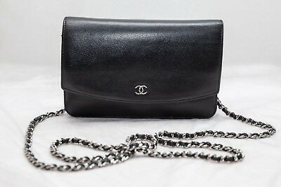 07597a4b44c8 VERIFIED Authentic Chanel Black Caviar Leather WOC Wallet on Chain Bag