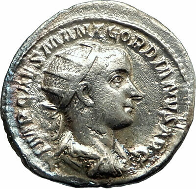 GORDIAN III 238AD Authentic Silver Ancient Roman Coin Providentia i76219