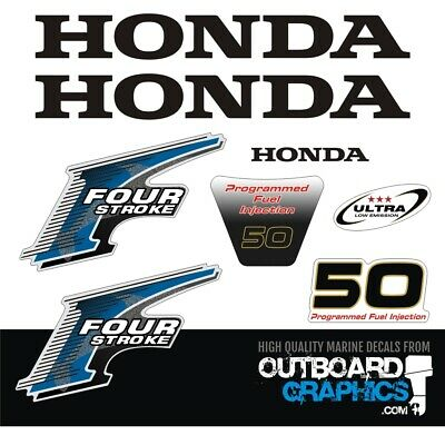 Honda 50hp 4 stroke programmed fuel injection outboard engine decals/sticker kit