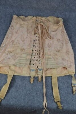 antique corset laces hooks Edwardian boned heavy cotton garters vintage 1900