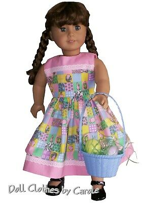 """Blue Yellow or Green Easter Basket Sized for 18"""" American Girl Size Doll"""
