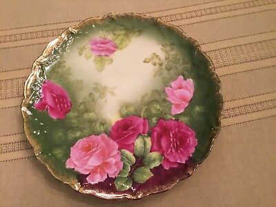 Vintage P.t. Germany Porcelain Plate/platter Decorated With Pink Roses